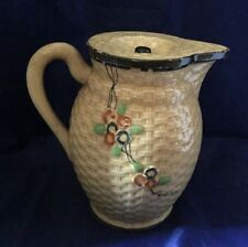 VINTAGE BASKET WEAVE PITCHER WITH LID MAJOLICA CHERRY BLOSSOM HOTTA YU SHOTEN