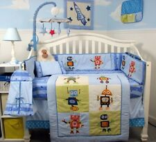 BLUE CRIB BEDDING SET CUTE LIL ROBOTS Infant Baby Boy Nursery 13 Pc Quilt Sheet+