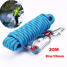 20M 10mm Rock Climbing Safety Rope Static Rope Tree Arborist Cord Rope+Carabiner
