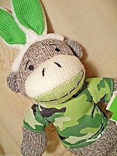 Dan Dee Camouflage Sock Monkey Easter Bunny Ears Plush Toy Dark Green Child 13""