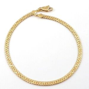 """Solid 18K Yellow Gold Flat S Chain Link Bracelet 6.5"""" 3mm"""