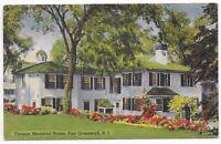Postcard Vintage Linen RI East Greenwich Rhode Island Varnum Memorial House -C16