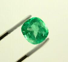 9mm 2.3 Carat Cushion Cut Natural Colombian Emerald Loose Gemstone