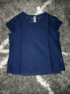 Girls justice floral lace layered top size 14/16 new navy