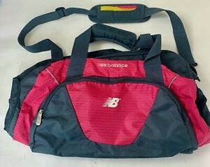 New Balance Womens Duffle Bag Gym Travel Pink Gray Shoulder Strap Adjustable L