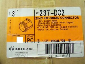 "Lot of 7 Bridgeport 237-DC2 3"" Set Screw Connector Zinc"