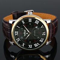 Mens Watch Mechanical Black Dial Leather Self Winding Roman Numberals Luxury