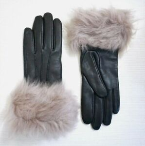 NEW UGG Women's 3 Point Toscana Shearling Black Leather Smart Tech Cuff Gloves S