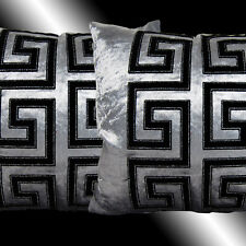 2X RARE SHINY GREY VELVET BLACK DECORATIVE THROW PILLOW CASES CUSHION COVERS 17""