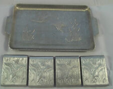 Match Book Covers & Matching Set Of 4Tray Ducks In Reeds Aluminum  Vintage