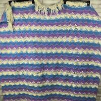 Crochet Blanket Throw Granny Afghan Handmade Fringe Purple White Blue 56 X 53