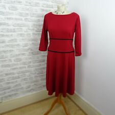 vintage red jersey skater dress chunky fabric chic flirty BEA USA size S/P D214