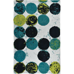 Green & Blue Mid-Century Abacus Blues Soft Washable Polyester Microfiber Rug