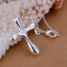 Free Shipping 925Sterling Silver Drop Cross Pendant Necklace 18inch PLB105