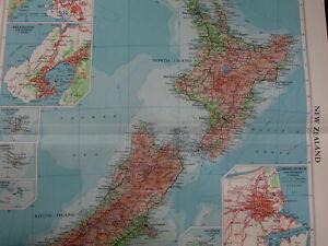 New Zealand Auckland Wellington Christchurch Pacific Islands 1959 vintage map