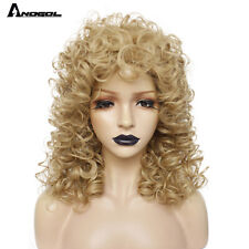 70s 80s Disco Rocker Wig Short Curly Golden Blonde Synthetic Wig for Women
