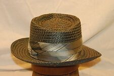 Fedora Grey Lundstrom Straw Vintage Men's Hat size 7 - 7 1/8  with Grey Band