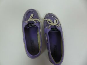 Sperry Top Sider Girls Youth Size 4 Purple Sequin Biscayne 1 Eye Slip On Shoes
