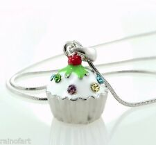 W Swarovski Crystal White Cupcake Vanilla 3D Cake New Pendant Necklace Jewelry