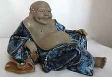 Antique Chinese Mudman Mudmen Figurine Blue Flambe Figurine Statue Buddha w Bag
