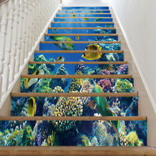 13pcs 3D Colorful Underwater world Fish Staircase Stickers Mural Wallpaper Decor