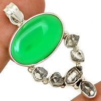 Green Onyx & Herkimer Diamond 925 Sterling Silver Pendant Jewelry AP12481