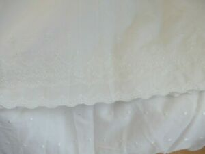 Simply Shabby Chic Sheer Window Panel White Embroidered Floral Polka Dot New
