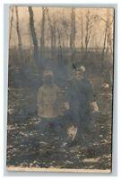 Vintage 1912 RPPC Postcard - Two Children in Woods Cute Cat Herman Minnesota