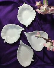 """Autumn Leaves"" Set of 4 Small Dishes White Porcelain China Blank Blanc de Chine"