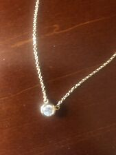 """Gold Over Solid 925 Sterling Silver Bezel-Set CZ By The Yard Necklace 18.5/""""L ."""