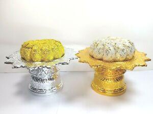14Cm Buddha Worship Offering Pedestal Tray Thai Altar Amulet Plastic Gold Silver