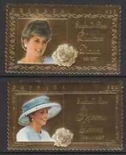 More details for grenada 14 july 1998 princess diana memoriam pair gold foil stamps mnh