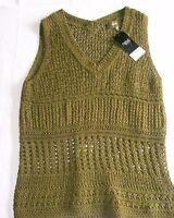 Next Crochet V neck Top & Cami Vest Set khaki green Size 10 Brand New Tags BNWT