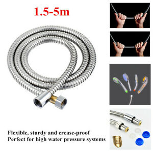 1.5-5M Flexible Shower Head Hose Extra Long Stainless Steel Hand Held Bathroom