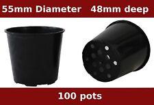 55mm Small Black Plastic UV Stabilized Mini  Plant Pot  UV Stabilized pack x 100
