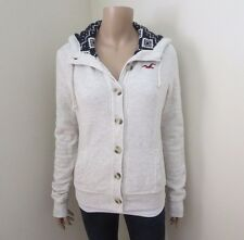 NWT Hollister Womens Wool Lined Button Up Jacket Size Small Hoodie Light Gray