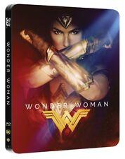 ❏ Wonder Woman Blu Ray 3D + 2D 2017 Film STEELBOOK + EXTRAs ❏ Genuine R2 DC HMV