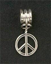 Peace Sign Dangle Charm European Bead Bracelet Stainless Steel Christmas Gifts