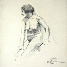 Antique FrenchDrawing on Paper, Nude Woman, 25 minute sketch, 1925