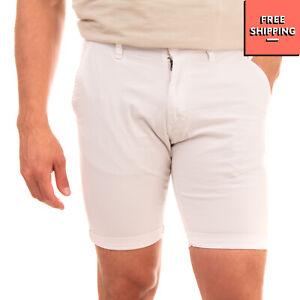 LIU JO UOMO Chino Shorts Size 44 Stretch White Zip Fly Turn-Up Cuffs