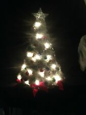 "Lighted Christmas Tree Silver Tinsel Garland Bulbs & Ornaments Attached 21"" H"