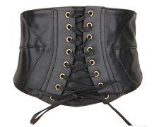 Womens PU Leather Belt Elastic Wide Band Waspie Cincher Corset Wasit Belt