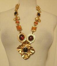 Vintage Limit, Edition YSL Yves Saint Laurent Gold Tone Necklace Glass Cabochons