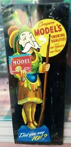 Vintage MODEL'S INDIAN CHIEF Smoking Tobacco Tin Tacker Sign  10 CENTS