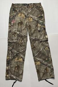 RealTree Green Camo Pink Logo Xtra Cargo Hunting Pants Womens Size Medium