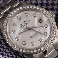 Rolex Datejust 31mm White Mother Of Pearl Dial SS Oyster Band & Diamond Bezel