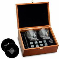 Cool Stones Whiskey Stones and Whiskey Glass Gift Boxed Set + 2 Free Coasters