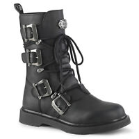 Demonia BOLT-265 Men's Black Biker Goth Punk Emo Laced-Up Mid-Calf Combat Boots