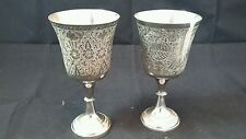 """Vtg World Gift Z.Y. India Ornate Silverplate Wine Water Goblets Set Of 2 6 1/4"""""""