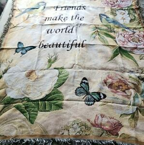"""Friendship Sentiment Tapestry Throw Friends Make the World Beautiful 62"""" × 46"""""""